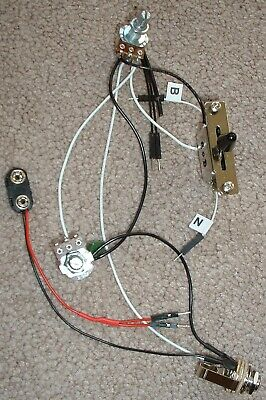 Solderless EZ-INSTALL Wiring KIT for 2 ACTIVE EMG Pickups 1V1T 3-Way F BLACK -