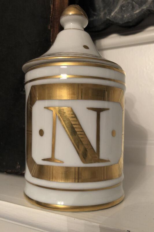 Antique Perfumery French Napoleonic Porcelain Lidded Jar Awesome Early