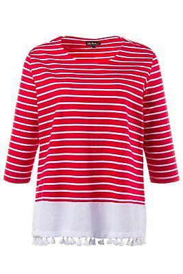 ULLA POPKEN Sweatshirt mit Streifen & Fransenband am Saum dunkelrot NEU Band Sweatshirt