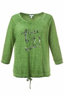 Gina Laura Shirt Kaltfärbung glänzender Schriftzug Bindeband limette NEU Band Sweatshirt