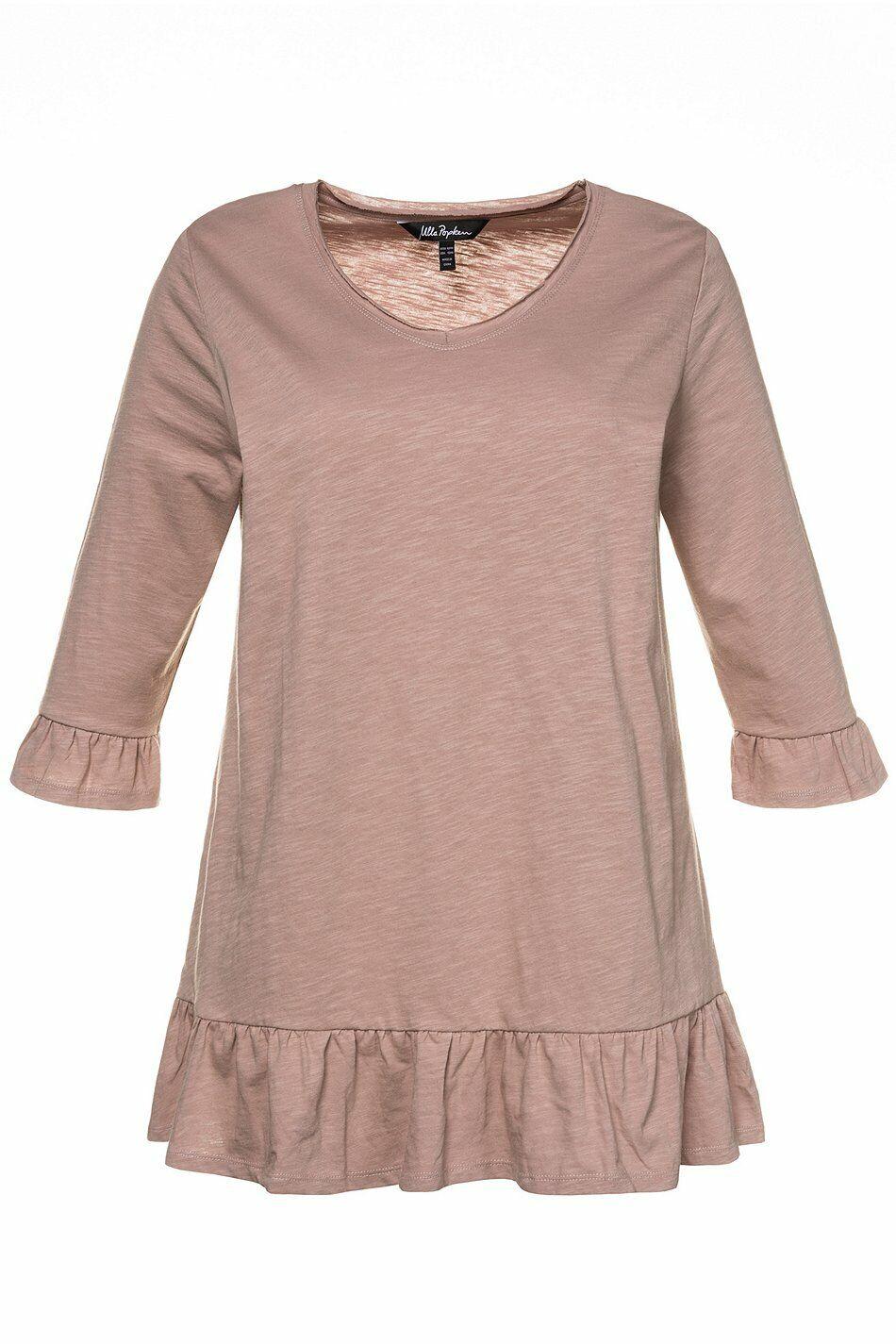 ULLA POPKEN Long- Shirt mit Volants rose NEU