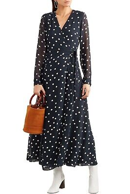 GANNI Navy Polka Dot Dress Womens Size 38 (US size 6-8) New Without Tags