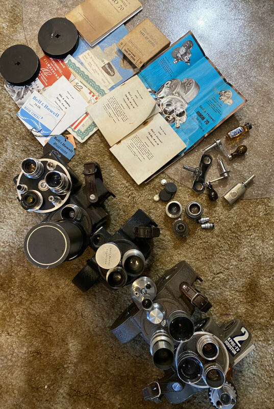Lot of 5 Bell Howell Filmo 16mm Cameras Lenses | Angenieux, Taylor Hobson Cooke