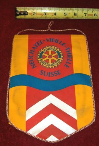 VINTAGE Rotary International Club wall banner flag    NEUCHATEL-VIEILLE   SUISSE