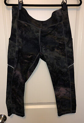 "Lululemon Womens Sz 12 Speed Up Crop 21"" side pockets Leggings Radiant Multi"