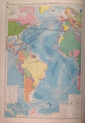 The Atlantic Ocean-Communications, 1952, Mercantile Marine Atlas, Philip