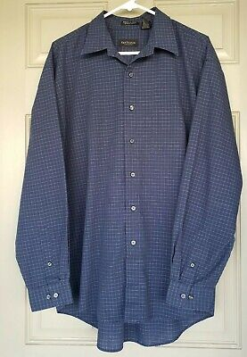 Men's Van Heusen Blue Checked L/S Casual Button-Down Shirt Wrinkle/Stain Free   for sale  Shipping to India