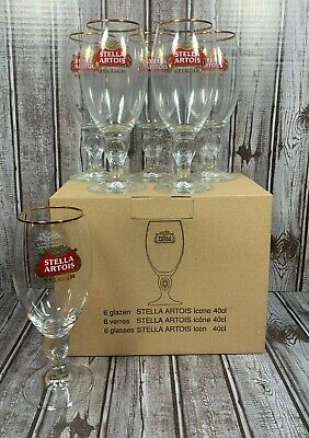Stella Artois Chalice Beer Pub Bar Pint 40CL, Set of 6 Brand New A MAN CAVE MUST