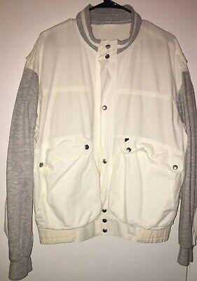 New Man Brand Cotton Bomber Style Jacket Fleece Trim Size Large Men's Bomber Style Twill Jacket