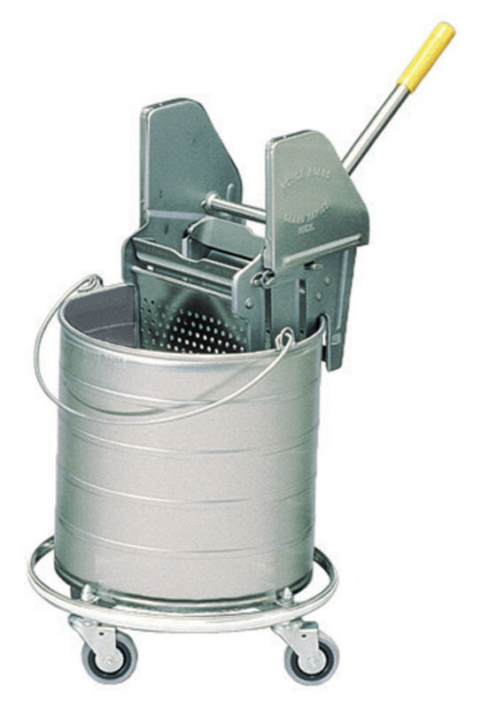 """Royce Rolls #438 Stainless Steel 8-Gallon Bucket and Wringer Combo on 3"""" Casters"""