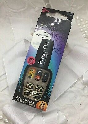 s-On Manicure Glow in the Dark 24 Nails Kürbis *neu*🎃👻 (Kürbisse In Halloween)
