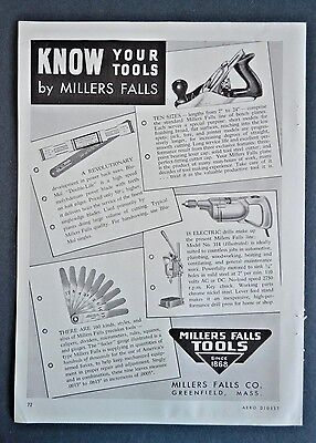 Millers Falls Tools Hacksaw Electric Drill Bench Plane 1943 Vintage Print Ad