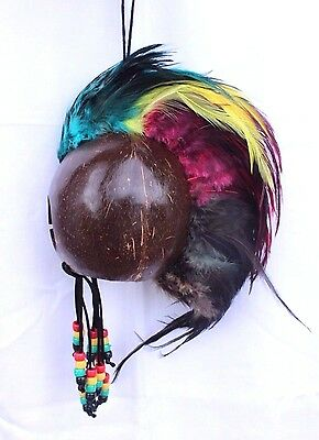 "RASTA Ikaika Hawaiian Warrior Coconut Helmet ~ 3"" Coconut  # WR-0002"