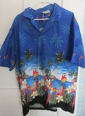(Pacific Legend Mens Hawaiin Shirt Made in Hawaii 2XL Blue w Parrots /Flowers )