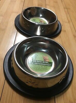 2 Pet Bowls Stainless No Tip Non Slip Food Water Dish With Paw Print (Tip Bowl)