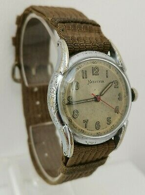 Vtg 1940s Helvetia Cal 800c Military Red Second Hand Gents Wrist Watch & Strap