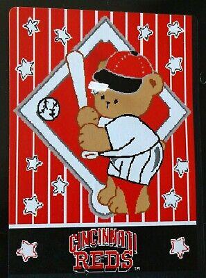 Mlb Woven Tapestry Throw - Cincinnati Reds MLB Woven Blanket Throw Tapestry Teddy Bear Batting Stars NEW