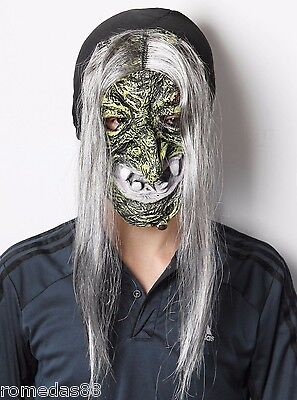 White Hair Green Face Ugly Witch Ghost Costume Halloween Party Mask (Halloween Costume White Hair)