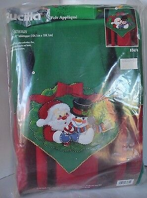 Vtg Table Top Runner 83674 Bucilla Felt Applique Christmas Santa SnowmanKit (Felt Top Table)