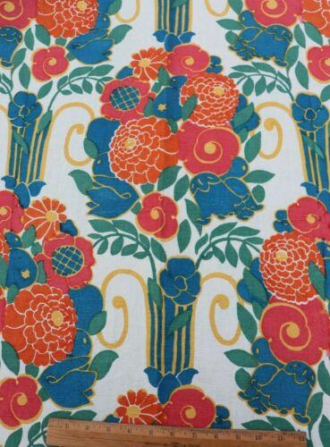 """Antique Museum Deaccessioned Linen Art Deco Home Fabric~Floral c1920-30~108""""X49"""""""