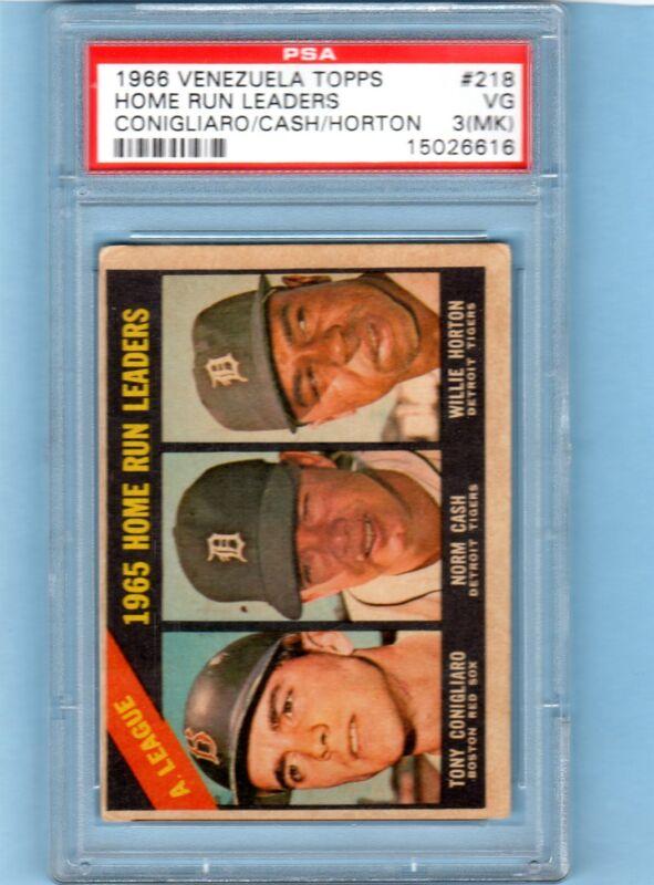 1966 venezuela  Topps #218 Tony Conigliaro Boston Red Sox PSA 3 Home Run Leaders