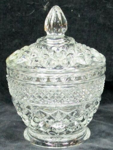 1 vintage clear glass Anchor Hocking WEXFORD sugar bowl with lid