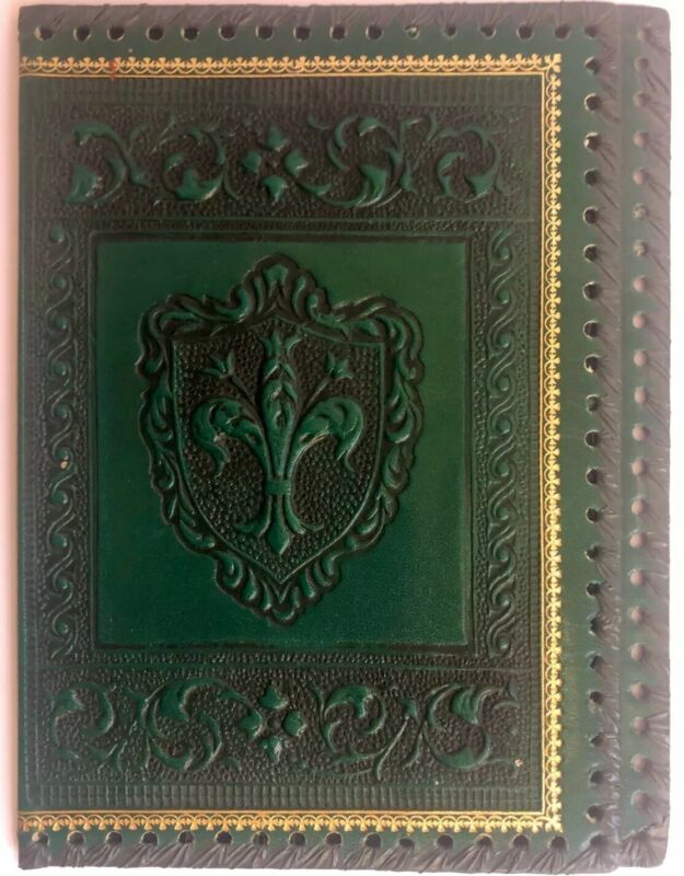 Vintage Fleur de lis Embossed Green Leather Book Bible Dust Cover