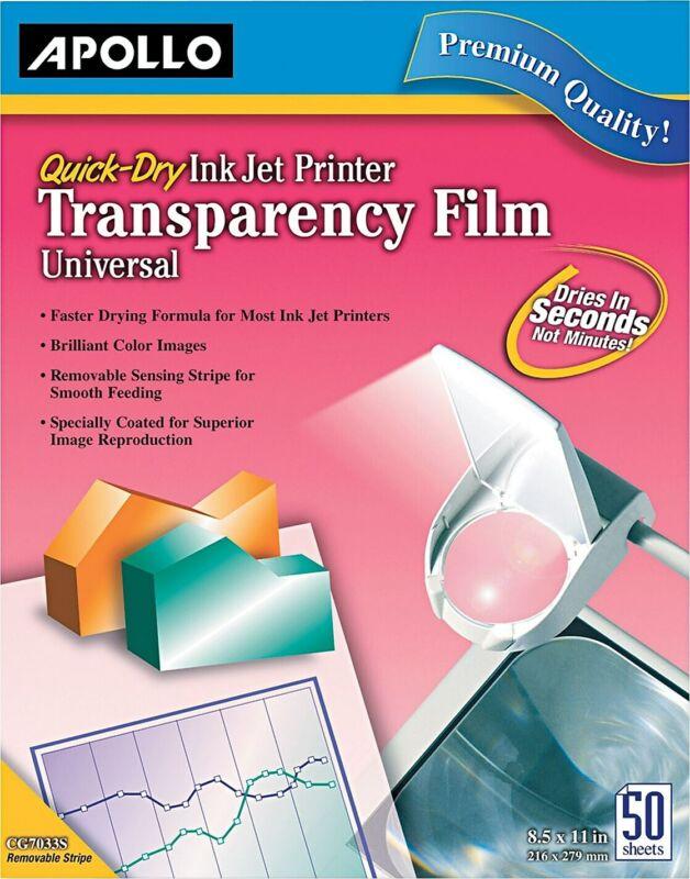 Apollo Inkjet Printer Transparency Film, Clear CG7031S