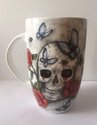 XL SKULL COFFEE LATTE MUG White Marble FINE PORCELAIN Tall Butterfly Rose LARGE