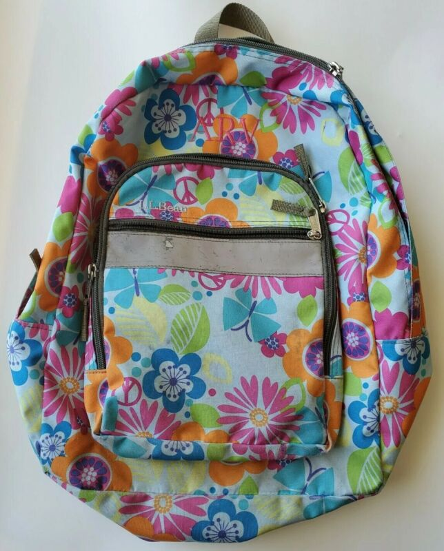 LL Bean Deluxe Backpack Book Bag Flowers Peace Sign Reflective Tape ARV Monogram