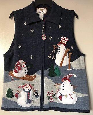 Christmas Sweater Vest (Tiara International Ugly Christmas Sweater Vest Snowman Beaded Embellished Sz)