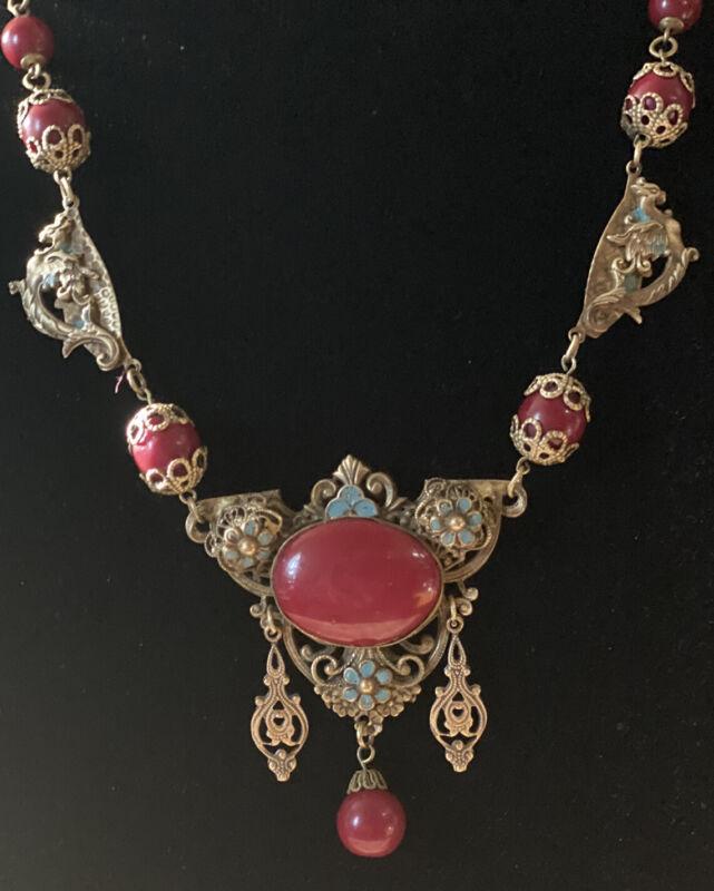 Antique Ornate Neiger Art Deco Carnelian Glass & Ornate Brass Griffins Necklace