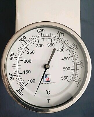 """3/"""" Dial 6/"""" Stem Industrial Stack//Furnace Thermometer 200-1000F 1//2/"""" NPT"""