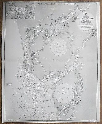 1895 AFRICA WEST COAST SALUM & JUMBAS RIVERS VINTAGE ADMIRALTY CHART MAP