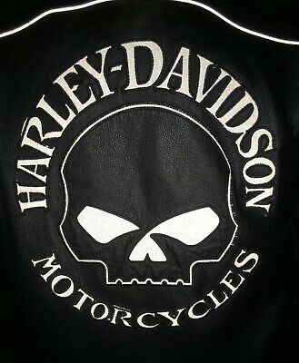 Harley Davidson Men Reflective Willie G Skull Black Leather Jacket XL
