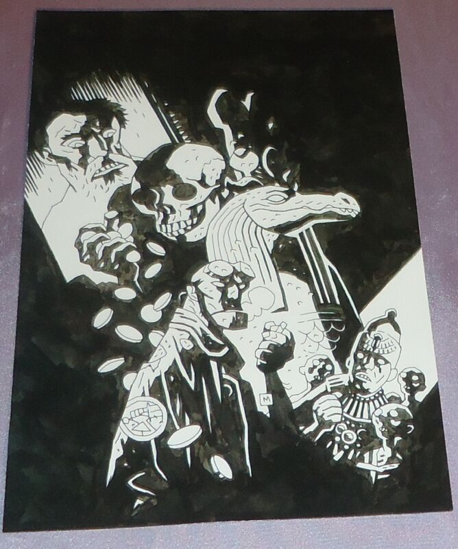 HELLBOY DOUBLE FEATURE OF EVIL~COVER ART PRINT~MIKE MIGNOLA/ARTIST/CREATOR