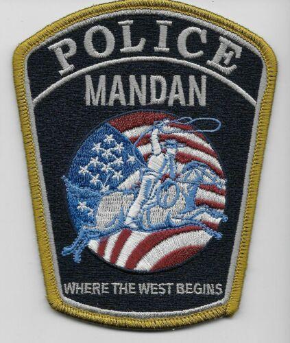Mandan Police State North Dakota ND Colorful US FLAG