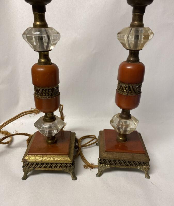 "Pair Bakelite butterscotch Marbled Amber Catalin Lamps - 12"" Art Deco"