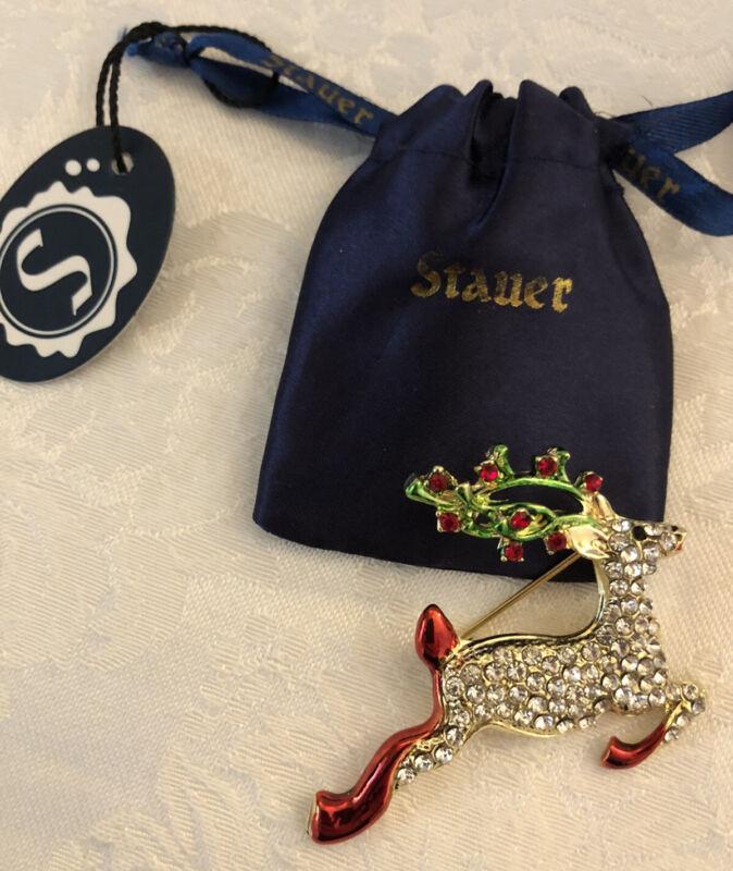 NEW Stauer Reindeer Holiday Brooch Pin with Diamondaura Rhinestones Bling NWT