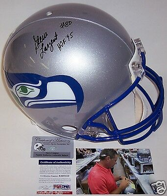 (STEVE LARGENT HAND SIGNED SEATTLE SEAHAWKS FULL SIZE PRO HELMET HOF 95 PSA/DNA)