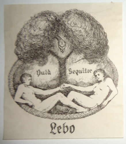 """LEBO Ex-Libris Bookplate - with  """"Quid Sequitor"""" motto"""
