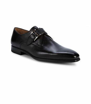 Magnanni Black Leather Single Monk Strap Almond Toe Dress Shoes Size 9.5 $425.00