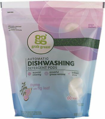 Dishwasher Pods, GRAB GREEN, 60 pods 1 pack Thyme with Fig Leaf for sale  Shipping to India