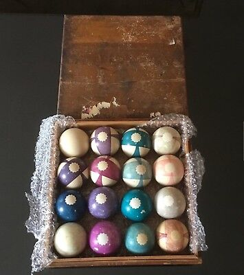 ANTIQUE 1800'S CLAY POOL BILLARDS BALL SET ALONZO BURT Double Stripe Beach Balls