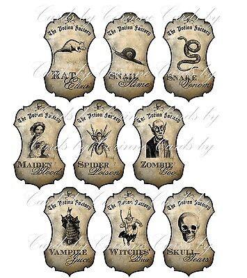 Halloween apothecary 9 bottle jar labels potion spider zombie vampire witch - Halloween Craft Jars