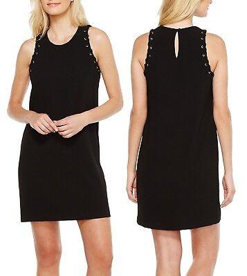 Satin 2l (Karen Kane 2L17331 Black Eyelet Lace Satin Back Crepe Shift Dress - $158)