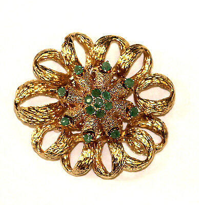 14k yellow gold women's emerald pin brooch 22.3g vintage ladies estate antique