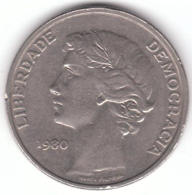 Portugal 25 Escudos 1980 Copper-nickel Coin -  Laureate Head