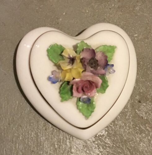 Royal Adderley Floral Bone China Floral Flowers a top heart shaped Trinket Box