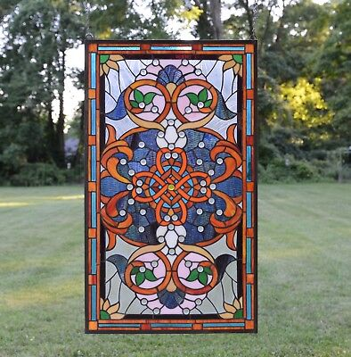 Купить 20.5W x 34.5H Handcrafted Jeweled stained glass window panel.